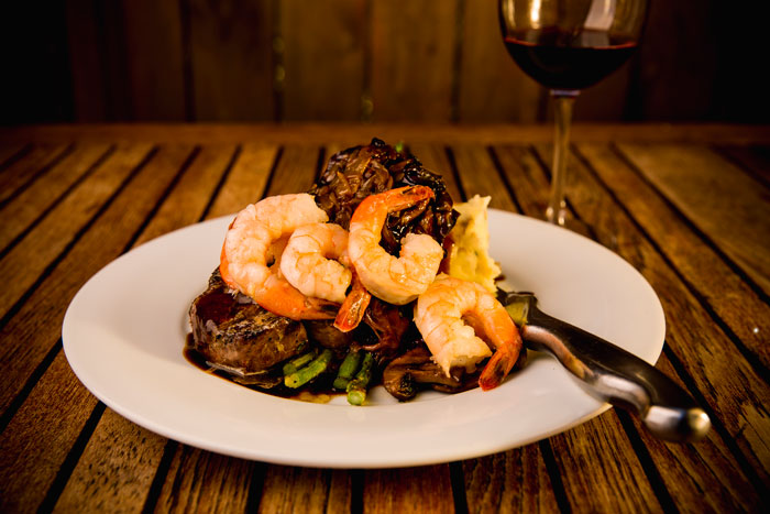 Steak and Prawn Dinner at SIMONHOLT   Corporate Reservations available at SIMONHOLT